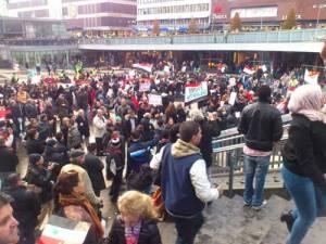 Fra demonstrasjon på Sergels torg i Stockholm 4. november 2012